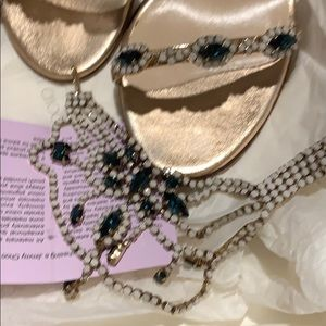 Jimmy Choo Shoes - Sapphire and Opal gem ankle strap sandal heel